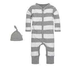 91b5607f204 Baby Boy Burt s Bees Baby Organic Striped Coverall  amp  Hat Set