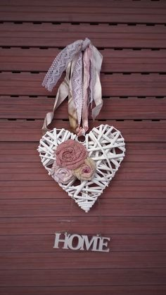 Shabby Heart with fabrics flowers, Heart door decoration, Heart wreath with HOME tag, Door decoration, Wall Hanging Decor, Twig Heart Wall