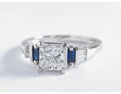 1.5 Carat Diamond Robert Leser Baguette-Cut Sapphire and Diamond Engagement Ring | Blue Nile Engagement Ring