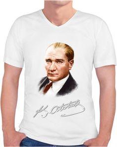 Atatürk Erkek Tişört Kendin Tasarla - Erkek V Yaka Tişört