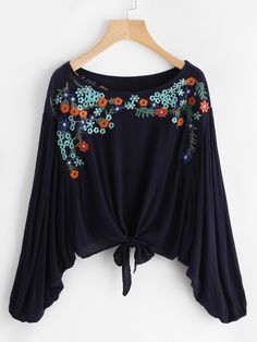 Shop Knot Front Embroidered Dolman Top online. SheIn offers Knot Front Embroidered Dolman Top & more to fit your fashionable needs.