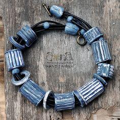 """Anna Krichevskaya - necklace """"Jeans Forever"""" Ceramic Necklace, Ceramic Jewelry, Ceramic Beads, Polymer Clay Bracelet, Polymer Clay Beads, Gypsy Jewelry, Jewelry Art, Polymer Clay Projects, Handcrafted Jewelry"""