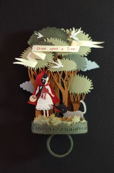 "Red Riding Hood Paper Ring by Elsa Mora :: featured in Paper Objects"" Lark Crafts Diy Paper, Paper Crafts, Diy Crafts, Kirigami, Paper Ring, Book Sculpture, Paper Artwork, Idee Diy, Paper Artist"