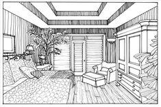 TOP View post interior design bedroom sketches one point perspective visit Homelivings Decor Ideas Drawing Interior, Interior Design Sketches, Interior Design Images, One Point Perspective Room, Perspective Sketch, House Colouring Pages, Cat Coloring Page, Bedroom Drawing, Elements Of Art