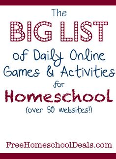 Free online games and activities for homeschool - over 50 sites
