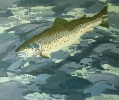 """""""Brown Trout,"""" Neil Welliver, 1986, oil on canvas, Farnsworth Art Museum."""