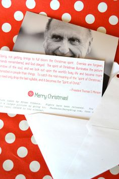 Neighbor gifts - a picture and quote from President Thomas S. Monson