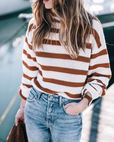 Rust burnt orange and white striped sweater, light high waisted jeans. Jess Ann Kirby wears a stripe sweater in Autumn maple tones. Source by kelizabethdsgns outfits Mode Outfits, Fall Outfits, Casual Outfits, Fashion Outfits, Women's Fashion, Fashion Styles, Fashion Rocks, Fall Dresses, Cheap Dresses