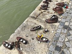 Jewish Shoes sculpture on the banks of the Danube in Budapest memorialize thousands of Hungarian Jews who were shot and dumped in the river by Nazis during World War II