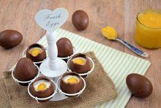Een leuk en lekker idee voor Pasen: Chocolade paaseieren met kwark en lemon curd. Leuke gevulde chocolade eieren voor bij het paasontbijt of als dessert.