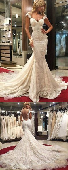 Sexy Mermaid Lace Wedding Dress 2017 Cap Sleeves Appliques Bridal Gown