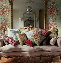 French Style Interior Comfy Sofa laden with Cushions l never too many