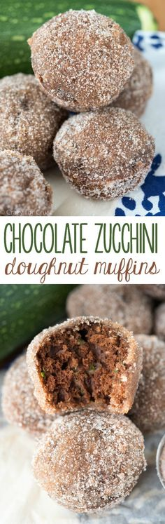 Chocolate Zucchini Doughnut Muffins - the perfect way to use up that summer zucchini! It's a baked donut muffin recipe covered in cinnamon sugar!