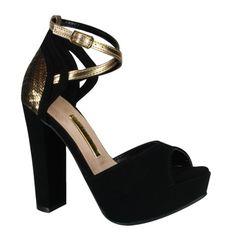 Sandália Via Marte Meia Pata 15-3902 - Preto/Ouro (Nobuck Cristal/Metal) - Calçados Online Sandálias, Sapatos e Botas Femininas | Katy.com.br