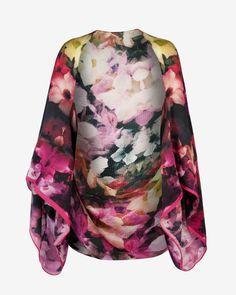 Cascading floral cape scarf - Black | Scarves | Ted Baker