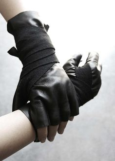 Gloves, retailed by The Archive, San Francisco  ___follow haute-goth for more monochrome street fashion