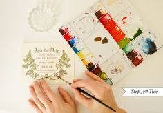 Gorgeous DIY Save The Dates using watercolors and waterproof stamps by  Antiquaria