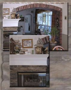 Faux brick arch and mural around fireplace