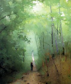 chasingtailfeathers:  Abbott Handerson Thayer  Landscape at Fontainebleau Forest, 1876 Private collection, Oil on artist's board