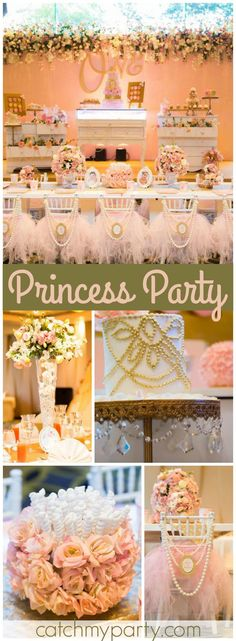 This party has flowers, pearls, lace and everything pretty! See more party ideas at CatchMyParty.com!