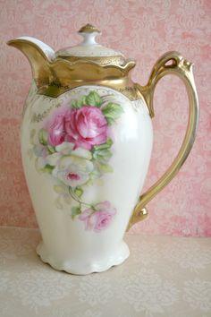 Gorgeous Antique Bavarian Porcelain Chocolate Pot