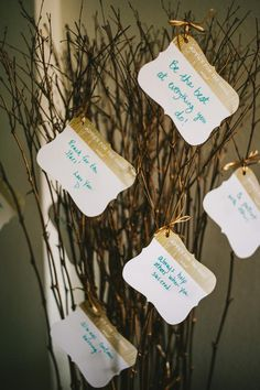 Forgo the traditional guest book and have guests tie advice cards to a tree to add to the party decor.