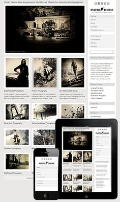 Photo Theme Responsive is a WordPress Theme with mobile and tablet responsive design. Free Photo Theme is perfect solution for any professional photographer. Web Themes, Cool Themes, Photography Themes, Photography Website, Foto Website, Wordpress Template, Wordpress Free, Premium Wordpress Themes, Web Design