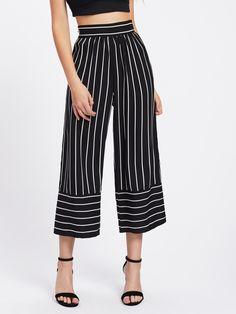 Hot Sale Women Ankle Length Pants Fashion High Waist Ladies Wide Leg P – geekbuyig Stylish Summer Outfits, Wide Leg Cropped Pants, Loose Pants, Type Of Pants, Ankle Length Pants, Ankle Pants, Outfit Combinations, Black White Stripes, Fashion Pants