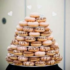 UPDATED 2019 donut wedding ideas including awesome displays, diy wedding donut favors, and donut bars, we couldn't wait to share them with you! The donuts Doughnut Wedding Cake, Wedding Donuts, Doughnut Cake, Wedding Desserts, Wedding Cakes, Wedding Favors, Wedding Decorations, Types Of Donuts, Donut Bar