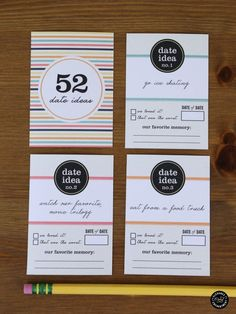 52 Date Idea Cards Printable from Elegance and Enchantment // Includes 52 Cards + a box template to make a perfect gift!