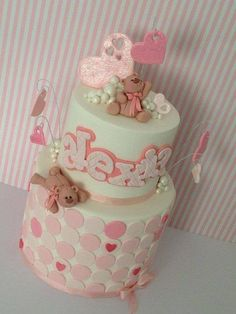 Teddy love Christening cake - Cake by Iced Creations