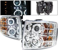 Chevy Silverado 2007-2013 Clear Projector Headlights with CCFL Halo and LED Silverado Accessories, Truck Accessories, New Trucks, Chevy Trucks, Automotive Led Lights, 2007 Chevy Silverado, Light Emitting Diode, Projector Headlights, Norman