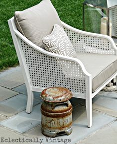 Martha Stewart for Home Depot but seriously can anyone help me find the name of this set? eclectic patio furniture - Patio Umbrellas - Ideas of Patio Umbrellas Vintage Patio Furniture, Patio Furniture Cushions, Cane Furniture, Patio Chairs, Outdoor Furniture, Furniture Layout, French Furniture, Kids Furniture, Office Furniture