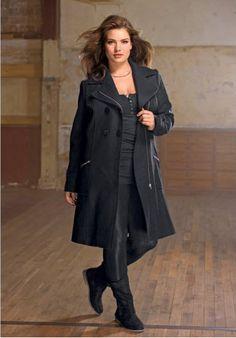 Palton din postav de lana cu incretituri la umeri, inchidere cu fermoar