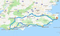 route-roadtrip-zuid-engeland Places Around The World, Travel Around The World, Disneyland, Road Trip Uk, Wanderlust, Travel Route, Croydon, England And Scotland, Round Trip