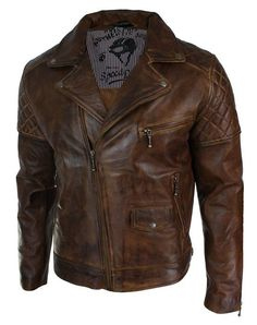 Mens Vintage Washed Tan Brown Real Leather Biker Jacket Cross Zip Retro Casual