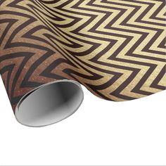 #chic - #Modern Art Deco Golden Chevron Maroon Burgundy Wrapping Paper