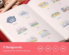 #Freebie: Months And Seasons Set (12 #Vector #Illustrations, PNG, SVG, EPS, AI) –