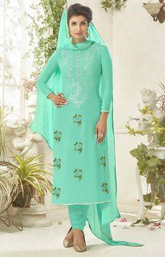 Sea Green Colour Net Designer Party Wear Suit Buy Sarees