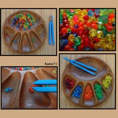 Simple bead sorting from Rachel - where do I get a sorting tray like this? Cutting Activities, Motor Skills Activities, Fine Motor Skills, Preschool Colors, Preschool Math, Maths, Kindergarten, Inspired Learning, Fun Learning