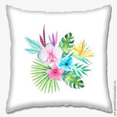 """Купить Подушка декоративная """"Тропикана"""" - комбинированный, Подушки, подушки декоративные, подушки диванные, подушка с принтом"""