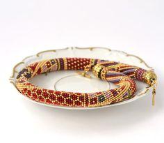 Bead Crochet Necklace Vinyard Red Grey  Lilac  24K by LeeMarina, $134.00