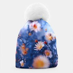 Orange Flower On Blue Beanie, Live Heroes @liveheroes #watercolor #blue #violet #shirt #apparel #fashion #woman #clothes #fashionblogger #liveheroes #OksanaAriskina  @photography_art_decor