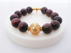 Red Tiger's Eye and Gold Vermeil Healing Bracelet by KartiniStudio