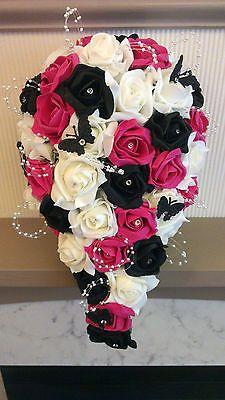 Hot Pink Black White Teardrop Bouquet Posy Mums