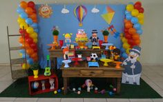 Decoração Mundo Bita Boy Birthday Parties, Baby Birthday, Birthday Cake, Balloon Decorations, Backdrops, Balloons, Baby Shower, Lucca, Bernardo