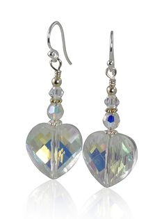 Handcrafted 1 1/2 inch iridescent crystal handmade beaded earrings created with Swarovski Austrian crystals, brilliant heart glass crystals, Bali .925 silver beads, sterling earwires, and sterling sil