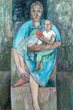 "terminusantequem: "" Erik Granfelt (Finnish, 1919-1990), MOTHER AND CHILD, 1958. Oil on canvas, 112 x 76 cm """