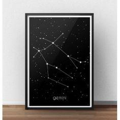 Poster gwiazdozbiór Bliźnięta (Gemini)  http://scandiposter.pl/plakaty/153-plakat-ze-znakiem-zodiaku-bliznieta-ii.html