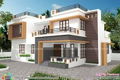 Contemporary style 4 bedroom house in 1700 square feet by First concept from Palakkad, Kerala House Outside Design, House Front Design, Modern House Design, Contemporary House Plans, Modern House Plans, Contemporary Style, House Architecture Styles, Architecture Design, Indian House Plans